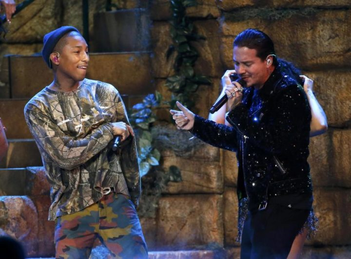 J Balvin performs with Pharrell Williams and Bia at the 17th Annual Latin Grammy Awards in Las Vegas